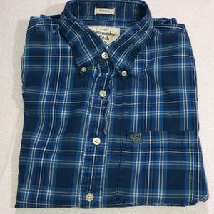 Abercrombie & Fitch blue plaid muscle shirt 30 OBO